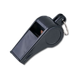 Economy Black Plastic Whistle Pk (Dzn)