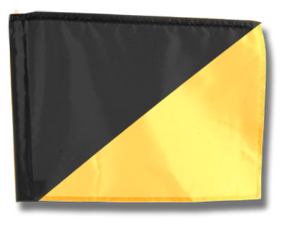 Single Golf Flag - Diagonal Black/Yellow