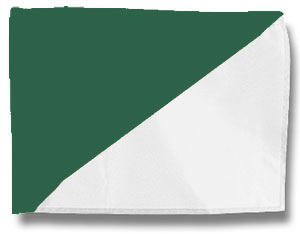 Single Golf Flag - Diagonal Green/White