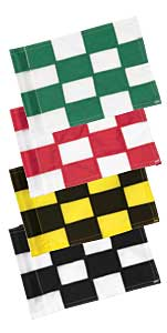 "Checkered Practice Green Flags, Singles- 3/8"" Small Tube"